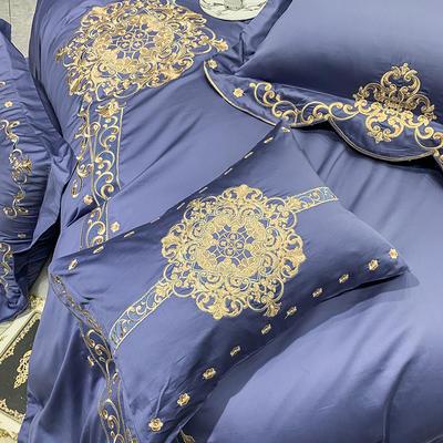 提取码:mj3u【安吉拉-摩登蓝】60S大版婚庆刺绣淑女公主风 西式婚庆 欧式美式全棉四件套多件套 1.5m(5英尺)床 安吉拉-摩登蓝-五件套