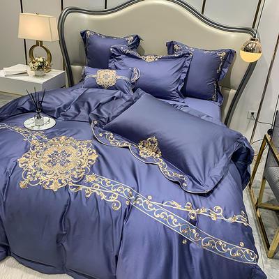 提取码:mj3u【安吉拉-摩登蓝】60S大版婚庆刺绣淑女公主风 西式婚庆 欧式美式全棉四件套多件套 1.5m(5英尺)床 安吉拉-摩登蓝-六件套