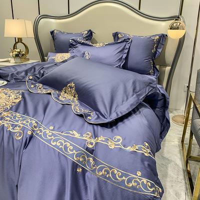 提取码:mj3u【安吉拉-摩登蓝】60S大版婚庆刺绣淑女公主风 西式婚庆 欧式美式全棉四件套多件套 1.5m(5英尺)床 安吉拉-摩登蓝-七件套