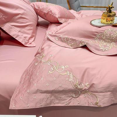提取码:mj3u【安吉拉-淑女粉】60S大版婚庆刺绣淑女公主风 西式婚庆 欧式美式全棉四件套多件套 1.5m(5英尺)床 安吉拉-淑女粉-六件套