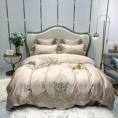 提取码:1qz3【赫蒂-香槟】兰精80S纯天丝美式花卉刺绣清新淑女公主 欧式美式全棉四件套多件套 1.5m(5英尺)床 赫蒂-香槟-四件套
