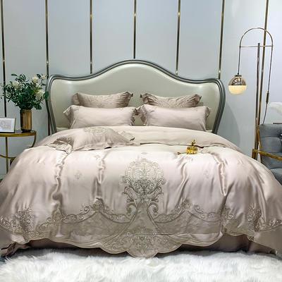 提取码:1qz3【赫蒂-香槟】兰精80S纯天丝美式花卉刺绣清新淑女公主 欧式美式全棉四件套多件套 1.5m(5英尺)床 赫蒂-香槟-五件套