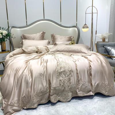 提取码:1qz3【赫蒂-香槟】兰精80S纯天丝美式花卉刺绣清新淑女公主 欧式美式全棉四件套多件套 1.5m(5英尺)床 赫蒂-香槟-六件套