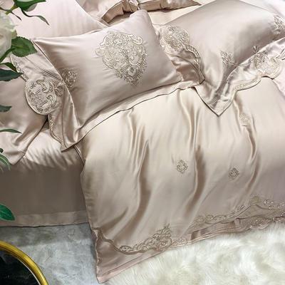 提取码:1qz3【赫蒂-香槟】兰精80S纯天丝美式花卉刺绣清新淑女公主 欧式美式全棉四件套多件套 1.5m(5英尺)床 赫蒂-香槟-七件套
