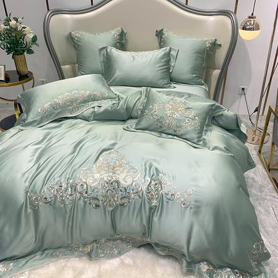 提取码:5hxu【奥黛丽-豆绿】兰精80S纯天丝美式花卉刺绣清新淑女公主 欧式美式全棉四件套多件套 1.5m(5英尺)床 奥黛丽-豆绿-五件套