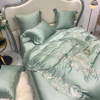 提取码:5hxu【奥黛丽-豆绿】兰精80S纯天丝美式花卉刺绣清新淑女公主 欧式美式全棉四件套多件套 1.5m(5英尺)床 奥黛丽-豆绿-六件套