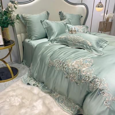 提取码:5hxu【奥黛丽-豆绿】兰精80S纯天丝美式花卉刺绣清新淑女公主 欧式美式全棉四件套多件套 1.5m(5英尺)床 奥黛丽-豆绿-七件套