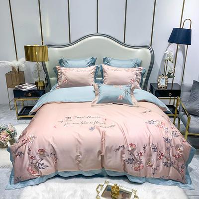 提取码:gcnq【风信子-粉蓝】全棉60S大版婚庆刺绣淑女公主风 美式花卉 欧式美式全棉四件套多件套 1.5m(5英尺)床 风信子-粉蓝-四件套