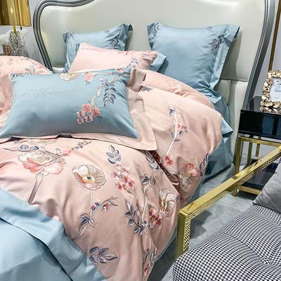 提取码:gcnq【风信子-粉蓝】全棉60S大版婚庆刺绣淑女公主风 美式花卉 欧式美式全棉四件套多件套 1.5m(5英尺)床 风信子-粉蓝-五件套