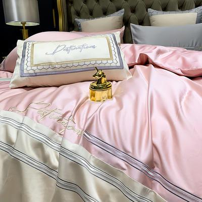 提取码:58ev【肖邦--共4色系】100支全棉轻奢刺绣拼色撞色高端北欧风简约时尚现代风四件套多件套 1.5m(5英尺)床 肖邦-4色-五件套