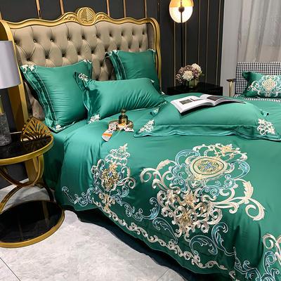 提取码:eiql【布鲁塞尔-绿】60S大版特种刺绣小清新淑女公主风 欧式美式全棉四件套多件套 1.5m(5英尺)床 布鲁塞尔-绿-五件套