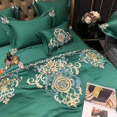提取码:eiql【布鲁塞尔-绿】60S大版特种刺绣小清新淑女公主风 欧式美式全棉四件套多件套 1.5m(5英尺)床 布鲁塞尔-绿-六件套