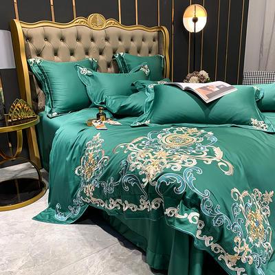 提取码:eiql【布鲁塞尔-绿】60S大版特种刺绣小清新淑女公主风 欧式美式全棉四件套多件套 1.8m(6英尺)床 布鲁塞尔-绿-七件套