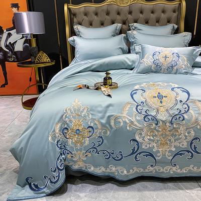 提取码:eiql【布鲁塞尔-蓝】60S大版特种刺绣小清新淑女公主风 欧式美式全棉四件套多件套 1.8m(6英尺)床 布鲁塞尔-蓝-四件套