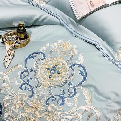 提取码:eiql【布鲁塞尔-蓝】60S大版特种刺绣小清新淑女公主风 欧式美式全棉四件套多件套 1.8m(6英尺)床 布鲁塞尔-蓝-七件套