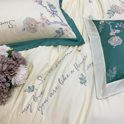 提取码:bn3u【风信子-奶白】全棉60S大版婚庆刺绣淑女公主风 美式花卉 欧式美式全棉四件套多件套 1.8m(6英尺)床 风信子-奶白-七件套
