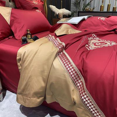 提取码:9ztg【千鸟格-5色系】100支全棉轻奢刺绣拼色撞色高端北欧风简约时尚现代风四件套多件套 1.5m(5英尺)床 千禧红-千鸟格-六件套