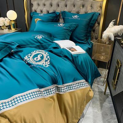 提取码:9ztg【千鸟格-5色系】100支全棉轻奢刺绣拼色撞色高端北欧风简约时尚现代风四件套多件套 1.5m(5英尺)床 比斯蓝-千鸟格-七件套