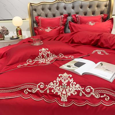 提取码:4q18【瑞娅-4色系】80S全棉简欧刺绣北欧结构风纯色撞色轻奢高端时尚风婚庆四件套多件套 1.5m(5英尺)床 瑞娅-正红-六件套