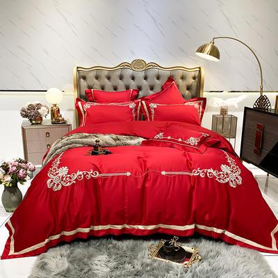 提取码:99p8【维奢-5色系】80S全棉简欧刺绣北欧结构风纯色撞色轻奢高端时尚风婚庆四件套多件套 1.5m(5英尺)床 维奢-正红-四件套