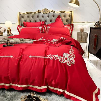提取码:99p8【维奢-5色系】80S全棉简欧刺绣北欧结构风纯色撞色轻奢高端时尚风婚庆四件套多件套 1.8m(6英尺)床 维奢-正红-五件套