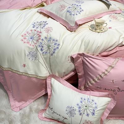 提取码:r385【蒲公英-2色】全棉60支大版婚庆刺绣淑女公主风美式花卉褶叶边小清新全棉四件套多件套 1.8m(6英尺)床 蒲公英-粉-六件套
