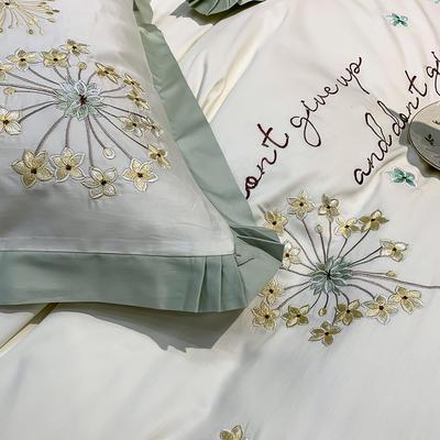 提取码:r385【蒲公英-2色】全棉60支大版婚庆刺绣淑女公主风美式花卉褶叶边小清新全棉四件套多件套 1.8m(6英尺)床 蒲公英-绿-七件套
