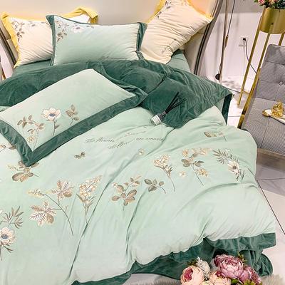 【绒朵-3色】新款秋冬加厚婴儿绒保暖绒类精品刺绣,宝宝绒牛奶绒珊瑚法兰绒四件套四件套 1.2m(4英尺)床 绒朵-嫩叶绿-四件套