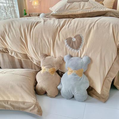 提取码:z0lb【泰迪熊-米咖】新款秋冬加厚卡通风婴儿绒保暖绒类精品刺绣卡通熊保暖牛奶绒四件套多件套 1.8m(6英尺)床 泰迪熊-米咖-六件套