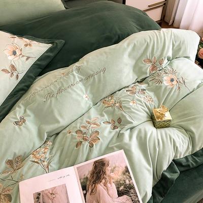 提取码:l9kd【绒朵-3色】新款秋冬加厚田园风婴儿绒保暖绒类精品刺绣花卉宝宝绒牛奶绒珊瑚绒四件套 1.8m(6英尺)床 绒朵-嫩叶绿-四件套