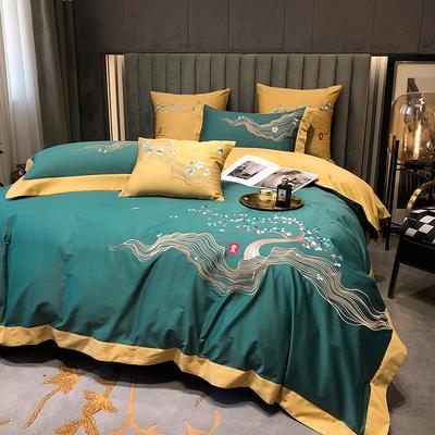 提取码:5wgf【素--4色系】高端100支全棉轻奢刺绣中式风撞色高端北欧简约时尚现代风四件套多件套 1.8m(6英尺)床 素-水绿-四件套