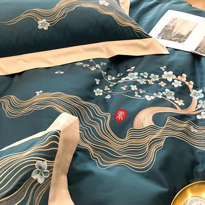 提取码:5wgf【素--4色系】高端100支全棉轻奢刺绣中式风撞色高端北欧简约时尚现代风四件套多件套 1.8m(6英尺)床 素-耀蓝-七件套