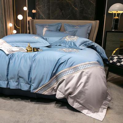 提取码:f4o3【千鸟格-5色系】100支全棉轻奢刺绣拼色撞色高端北欧风简约时尚现代风四件套多件套 1.8m(6英尺)床 纯净蓝-千鸟格-四件套