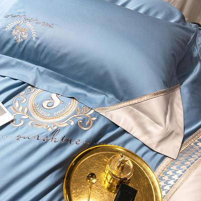 提取码:f4o3【千鸟格-5色系】100支全棉轻奢刺绣拼色撞色高端北欧风简约时尚现代风四件套多件套 1.8m(6英尺)床 纯净蓝-千鸟格-六件套