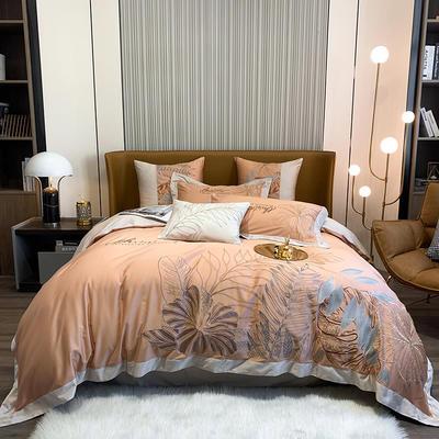 提取码:8888【娇莱雅-3色】80S全棉北欧花卉刺绣结构风纯色撞色轻奢高端时尚风婚庆四件套多件套 1.8m(6英尺)床 娇莱雅-活力橙-四件套