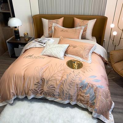 提取码:8888【娇莱雅-3色】80S全棉北欧花卉刺绣结构风纯色撞色轻奢高端时尚风婚庆四件套多件套 1.8m(6英尺)床 娇莱雅-活力橙-五件套