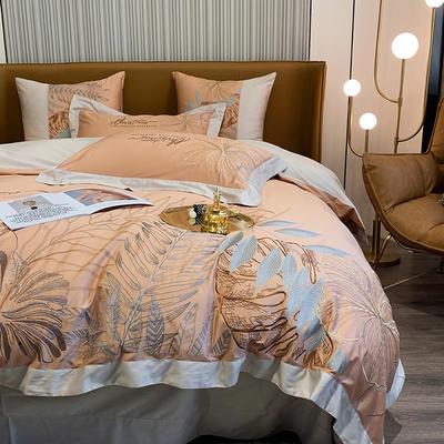 提取码:8888【娇莱雅-3色】80S全棉北欧花卉刺绣结构风纯色撞色轻奢高端时尚风婚庆四件套多件套 1.8m(6英尺)床 娇莱雅-活力橙-六件套