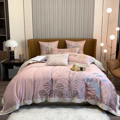 提取码:8888【娇莱雅-3色】80S全棉北欧花卉刺绣结构风纯色撞色轻奢高端时尚风婚庆四件套多件套 1.8m(6英尺)床 娇莱雅-胭脂粉-四件套