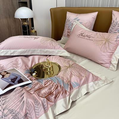 提取码:8888【娇莱雅-3色】80S全棉北欧花卉刺绣结构风纯色撞色轻奢高端时尚风婚庆四件套多件套 1.8m(6英尺)床 娇莱雅-胭脂粉-七件套