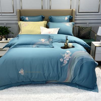2020新款80S绣花款四件套-优美旋律系列 1.5m床单款四件套 优美旋律(蓝色)