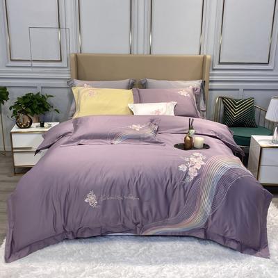 2020新款80S绣花款四件套-优美旋律系列 1.5m床单款四件套 优美旋律(紫色)