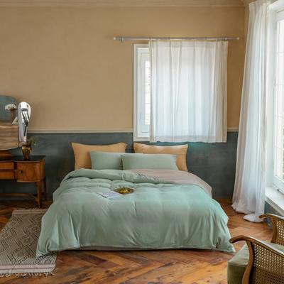 2020新款针织棉素色双拼四件套 1.8m床单款四件套 豆绿双拼
