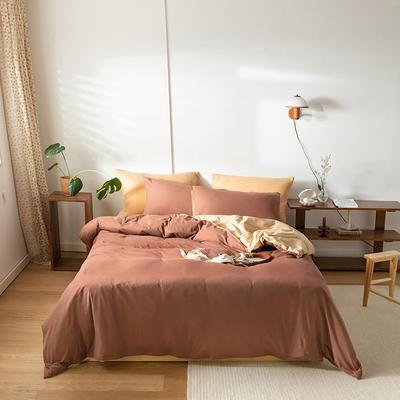 2020新款针织棉素色双拼四件套 1.8m床单款四件套 豆沙双拼
