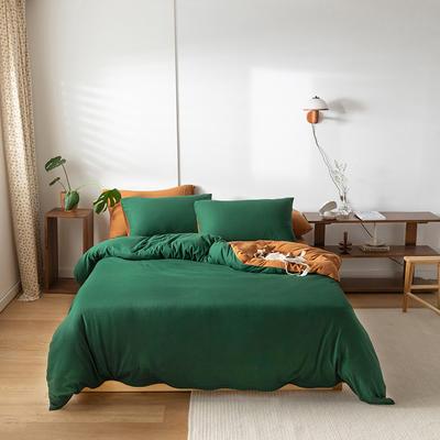 2020新款针织棉素色双拼四件套 1.8m床单款四件套 墨绿双拼