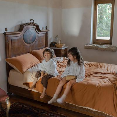 2020新款针织棉素色双拼四件套 1.8m床单款四件套 奶茶双拼