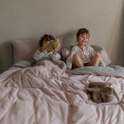 2020新款针织棉素色双拼四件套 1.8m床单款四件套 香芋紫双拼