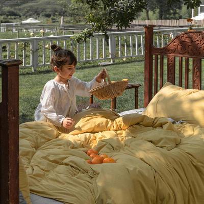 2020新款针织棉素色双拼四件套 1.8m床单款四件套 小鸡黄双拼