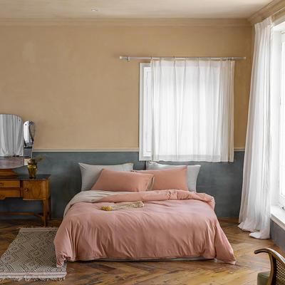 2020新款针织棉素色双拼四件套 1.8m床单款四件套 紫粉双拼