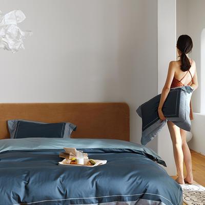 2020新款60S全棉刺绣纯色拼边四件套 2.0m床单款四件套 科林