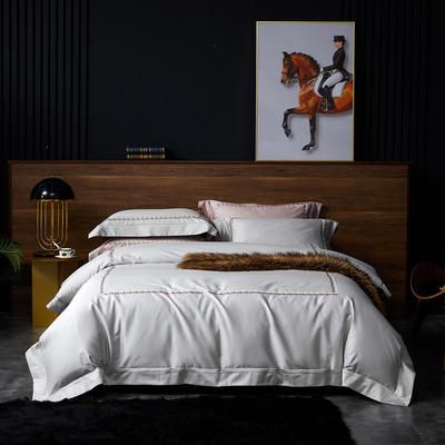 2020新款100S全棉纯色刺绣四件套 2.0m床单款四件套 西里尔